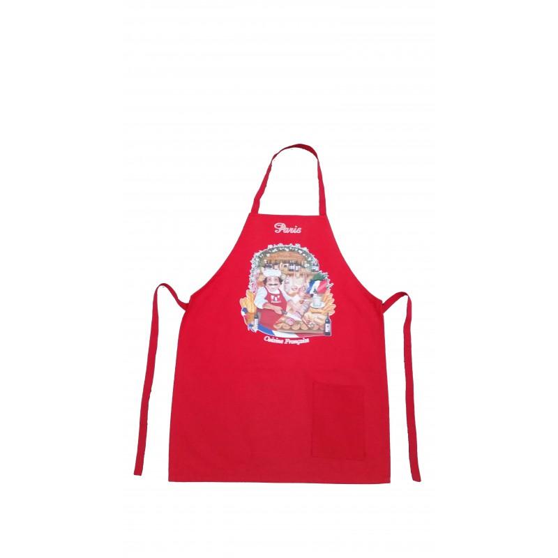 Tablier cuisine fran aise rouge souvenirs 2 paris - L art de la cuisine francaise ...