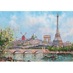 Tour Eiffel + monuments de Paris Peinture