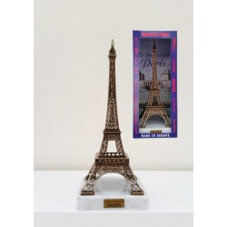 Tour Eiffel 24cm décor bronze sur Marbre