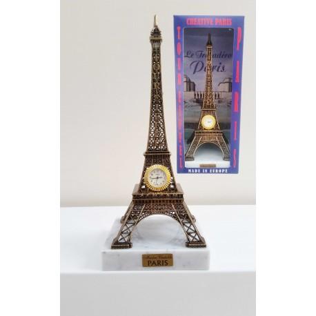 Tour Eiffel 24cm décor bronze avec pendule