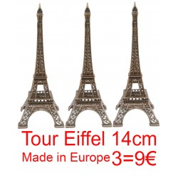 3 Tour Eiffel 14cm décor bronze