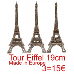 3 Tour Eiffel 19cm décor bronze