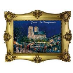 Façade de Notre Dame de Paris nuit peinture